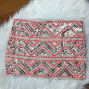 Express Sequin Chevron Mini Aztec Skirt, Large